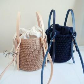 包包套組|兩用圓桶包|真皮